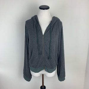 Wildfox Zip Up Hoodie Sweatshirt Gray Super Soft
